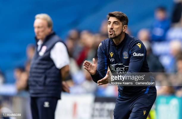 Reading United's manager Veljko Paunovic reacts during the Sky Bet Championship match between Reading and Middlesbrough at Madejski Stadium on...