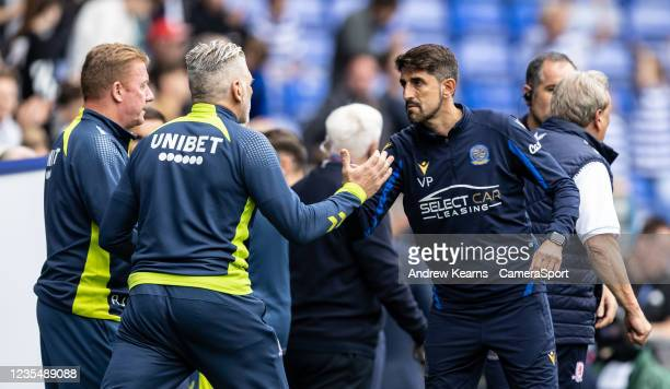Reading United's manager Veljko Paunovic shakes hands with the Middlesbrough staff at the end of the match during the Sky Bet Championship match...