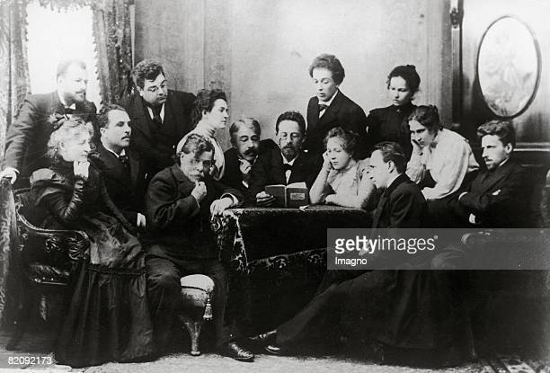 """Reading with Anton Tschechow, The picture shows Anton Tschechow reading with the artists of the Moscow Art his play """"The Seagull"""", Russia,..."""
