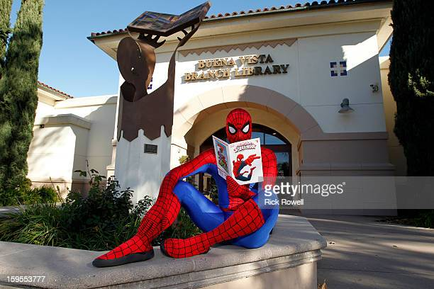 XD Reading With Marvel Comics CloseUp Disney stars join SpiderMan and kids from local Boys Girl Clubs of Hollywood Pasadena Burbank and San Fernando...