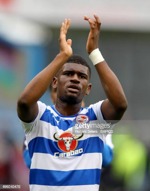 Reading's Aaron Tshibola applauds the fans after the game