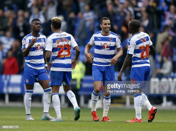 Reading's Aaron Tshibola Reading's Danny Williams Reading's Hal RobsonKanu and Ola John celebrate after the final whistle