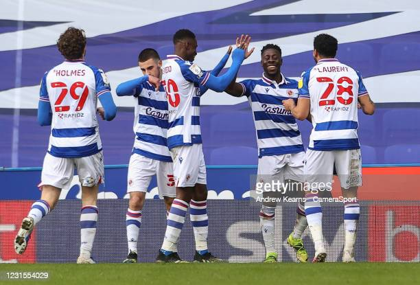 Reading's Andy Yiadom celebrates scoring his side's third goal during the Sky Bet Championship match between Reading and Sheffield Wednesday at...