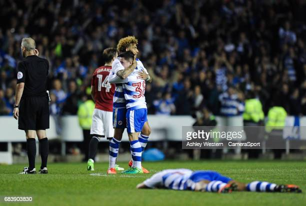 Reading's Daniel Williams embraces Liam Kelly after their 10 victory in the Sky Bet Championship PlayOff Semi Final Second Leg match between Reading...
