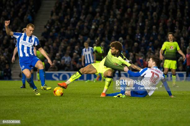 Reading's Daniel Williams is fouled by Brighton & Hove Albion's Sebastien Pocognoli during the Sky Bet Championship match between Brighton & Hove...