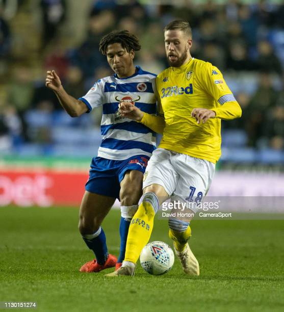 READING ENGLAND MARCH Reading's Danny Loader battles with Leeds United's Pontus Jansson during the Sky Bet Championship match between Reading and...