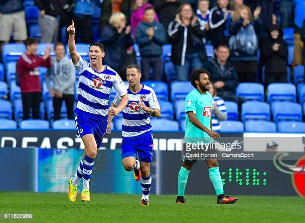 Reading's George Evans celebrates scoring his sides first goal during the Sky Bet Championship match between Reading and Derby County at Madejski...