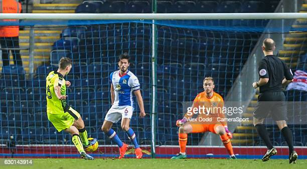 Reading's George Evans slots a late winner during the Sky Bet Championship match between Blackburn Rovers and Reading at Ewood Park on December 17...