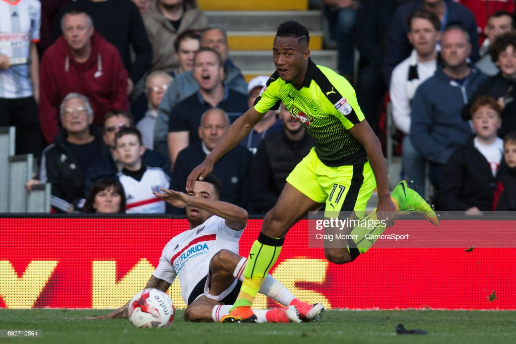Reading's Jordan Obita injures his right leg during this incident and has to be stretchered off at the end of the Sky Bet Championship match between Fulham and Reading at Craven Cottage on May 13, 2017 in London, England.