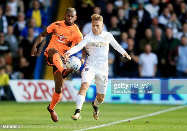 Reading's Leandro Bacuna and Leeds United's Samuel Saiz battle for the ball during the Sky Bet Championship match at Elland Road Leeds