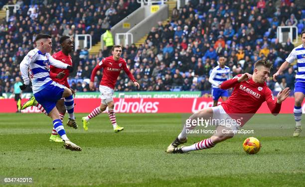 Reading's Liam Kelly shoots at the Barnsley's goal during the Sky Bet Championship match between Reading and Barnsley at Madejski Stadium on February...