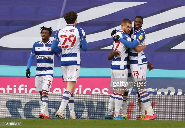 Reading's Lucas Joao celebrates scoring his side's second goal during the Sky Bet Championship match between Reading and Sheffield Wednesday at...
