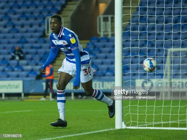 Reading's Lucas Joao celebrates scoring the opening goal during the Sky Bet Championship match between Reading and Wycombe Wanderers at Madejski...
