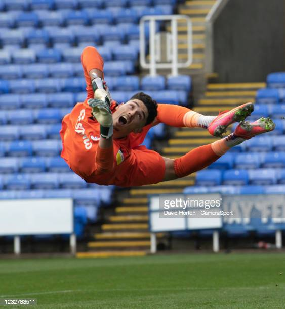 Reading's Luke Southwood concedes a goal from Huddersfield Town's Josh Koroma free kick during the Sky Bet Championship match between Reading and...