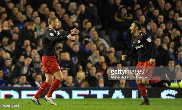 Readings Matt Mills celebrates his goal during the FA Cup Fifth Round match at Goodison Park Liverpool