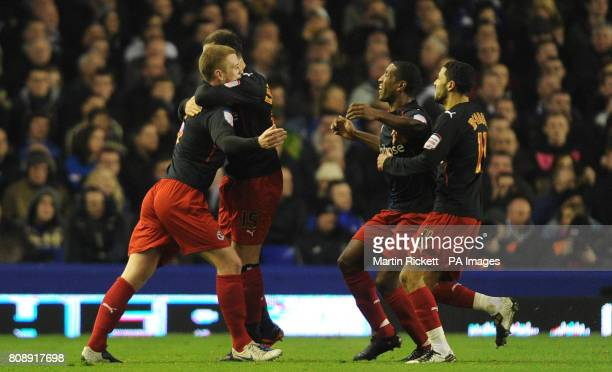 Readings Matt Mills celebrates scoring his sides opening goal during the FA Cup Fifth Round match at Goodison Park Liverpool