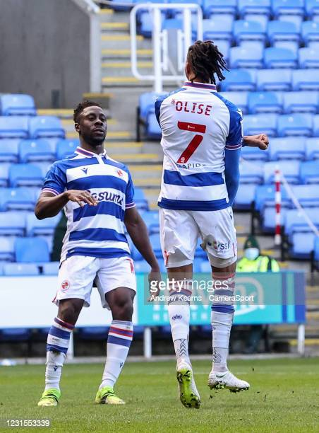 Reading's Michael Olise celebrates scoring his side's first goal from the penalty spot during the Sky Bet Championship match between Reading and...