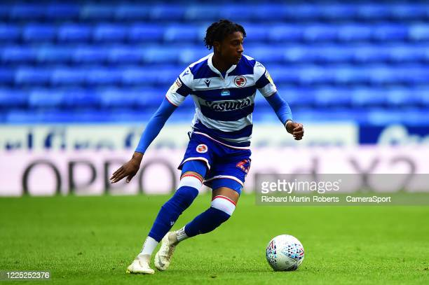 Reading's Michael Olise in action during the Sky Bet Championship match between Reading and Huddersfield Town at Madejski Stadium on July 7, 2020 in...