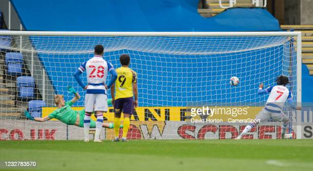 Reading's Michael Olise takes a penalty scores his side's equalising goal to make the score 1-1 during the Sky Bet Championship match between Reading...