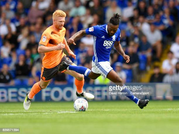Reading's Paul McShane battles with Birmingham City's Jacques Maghoma during the Sky Bet Championship match between Birmingham City and Reading at St...