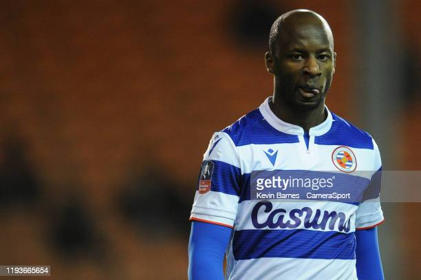 Reading's Sone Aluko during the FA Cup Third Round Replay match between Blackpool and Reading at Bloomfield Road on January 14, 2020 in Blackpool,...