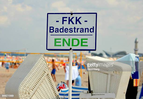 A reads 'End of nude Beach' at the Warnemuende beach in Rostock Germany Saturday August 19 2006As many as 12 million Germans who go to nude beaches...