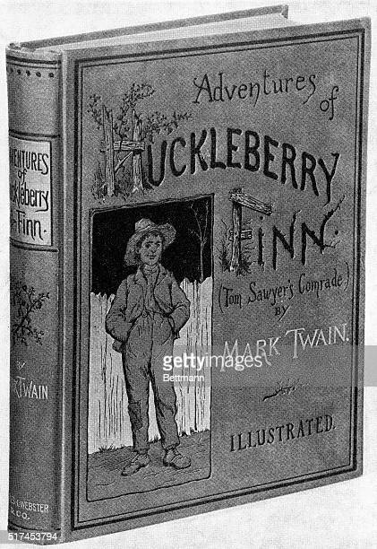 ORIGINAL CAPTION READSCover of The Adventures of Huckleberry Finn by Samuel Clemens First American Edition New York 1885 Published by Charles L...