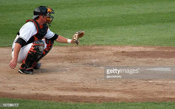 ready catcher - baseball catcher stock photos and pictures