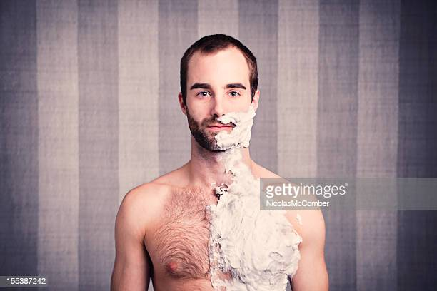 ready for a big shave - hairy chest stockfoto's en -beelden