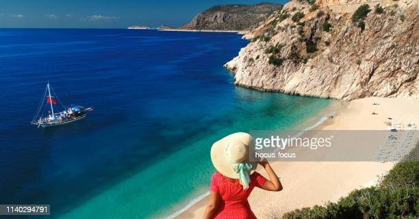 ready for a happy sunny beach holiday - kas stock pictures, royalty-free photos & images