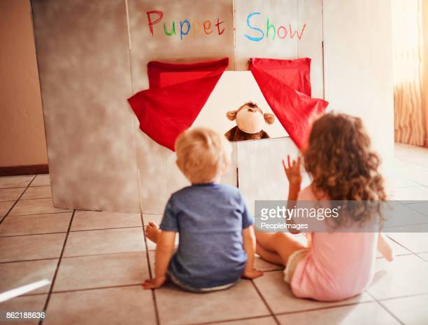 ready for a magical puppet show - puppet show stock photos and pictures