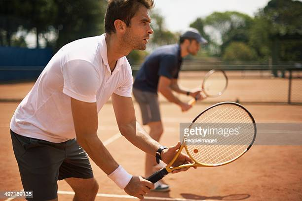 ready for doubles - tennis stock pictures, royalty-free photos & images