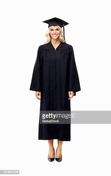 ready for graduation - young female in gown - graduation clothing stock pictures, royalty-free photos & images