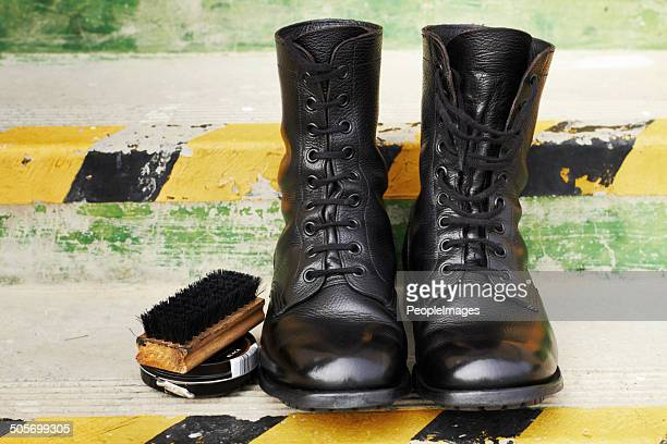 ready for parade detail - black boot stock pictures, royalty-free photos & images