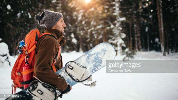 ready for snowboarding - boarding stock pictures, royalty-free photos & images