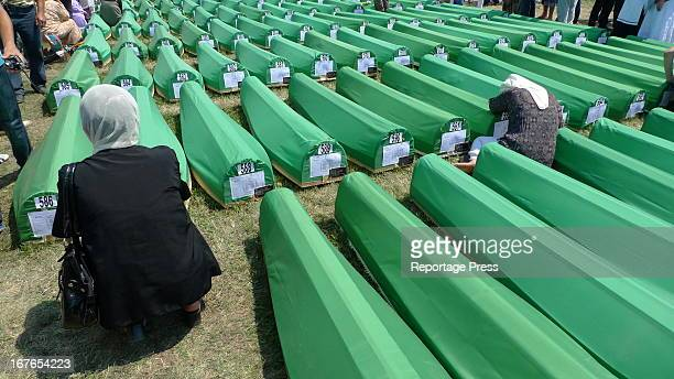Ready for the funeral. Woman before the coffin of a loved one killed during the Srebrenica massacre of 1995 when up to 8,000 were killed by Bosnian...