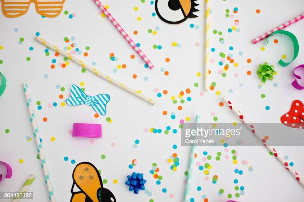 ready for the party.Party items overhead shot