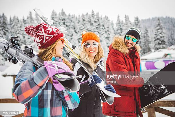 ready for this mountain peak - ski holiday stock pictures, royalty-free photos & images