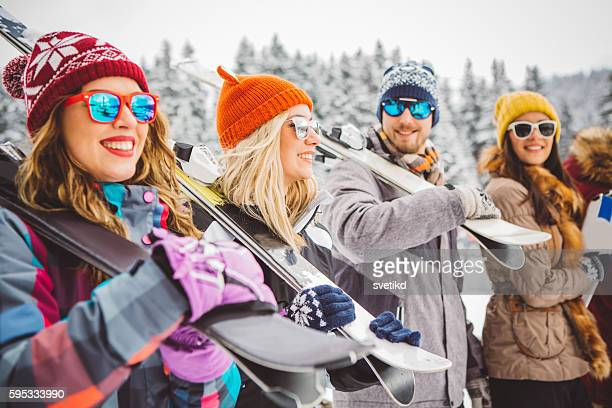 ready for this mountain peak - ski holiday stock photos and pictures