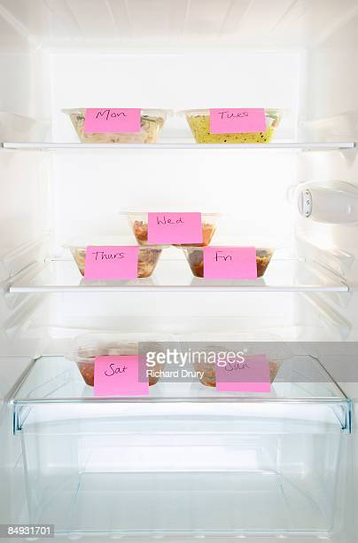 Ready meals labeled with weekdays in fridge