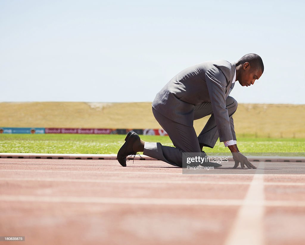 Ready to beat his competition : Stock Photo