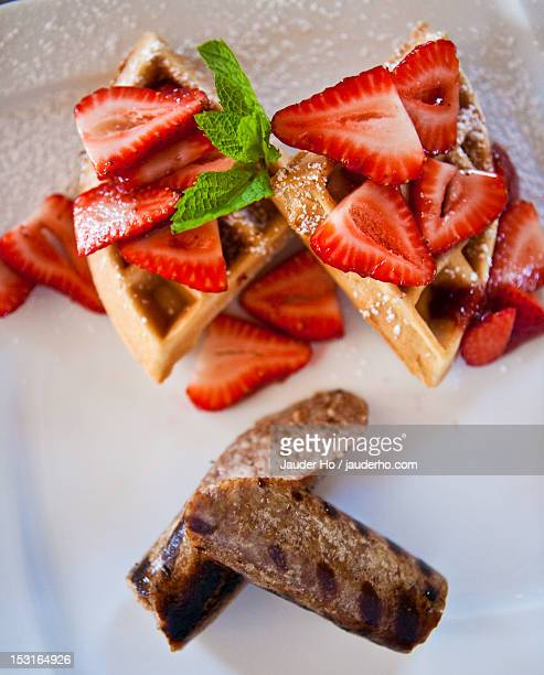 ready to eat food - chicken and waffles stock photos and pictures