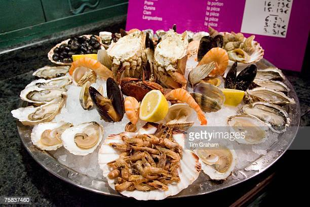 Ready to eat seafood platter at Le Petit Zinc Restaurant near Boulevard Saint Germain Left Bank Paris France