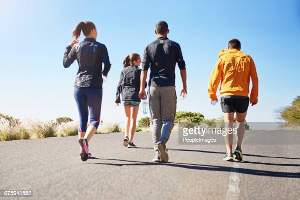 ready to get going on their fitness goals - marathon stock pictures, royalty-free photos & images