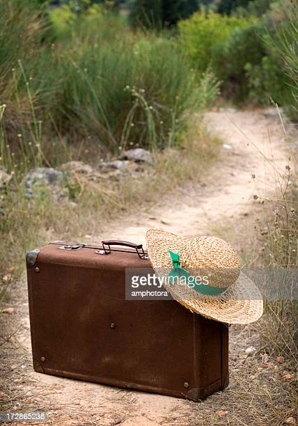 ready to leave - straw boater hat stock pictures, royalty-free photos & images