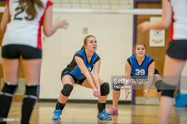 ready to recieve the ball - high school volleyball stock photos and pictures