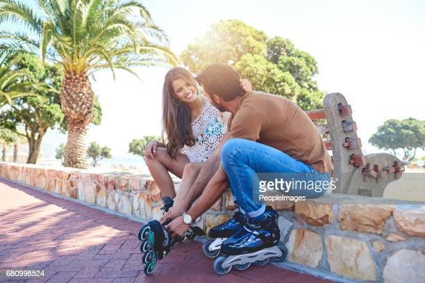 ready to roll? - inline skating stock pictures, royalty-free photos & images