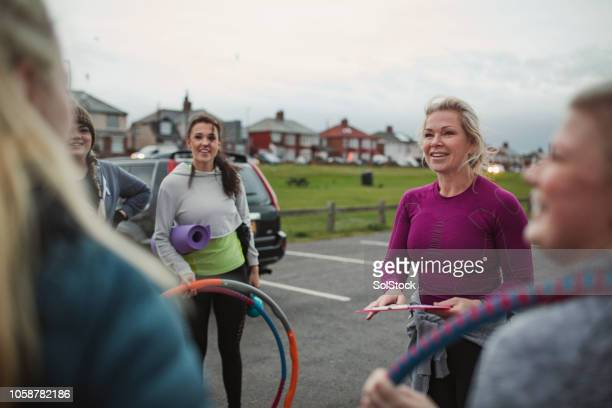 ready to start the morning's exercises - chilly bin stock photos and pictures