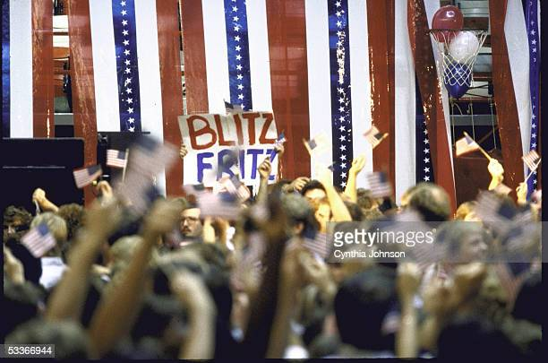 Reagan Bush supporters at a Vice President George Bush campaign rally