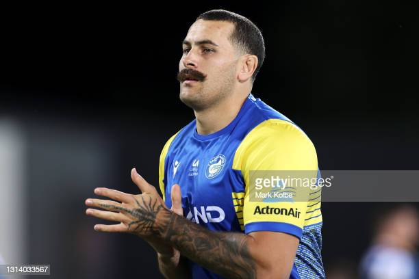 Reagan Campbell-Gillard of the Eels watches on during the warm-up before the round seven NRL match between the Parramatta Eels and the Brisbane...